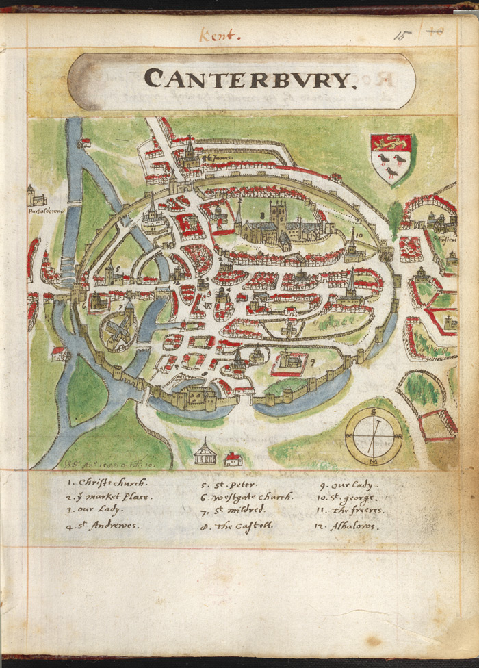 Map view of Canterbury, showing the Cathedral, from William Smith's